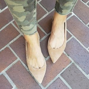 J Crew Audrey d'Orsay Pointed Toe Tan Suede Flats